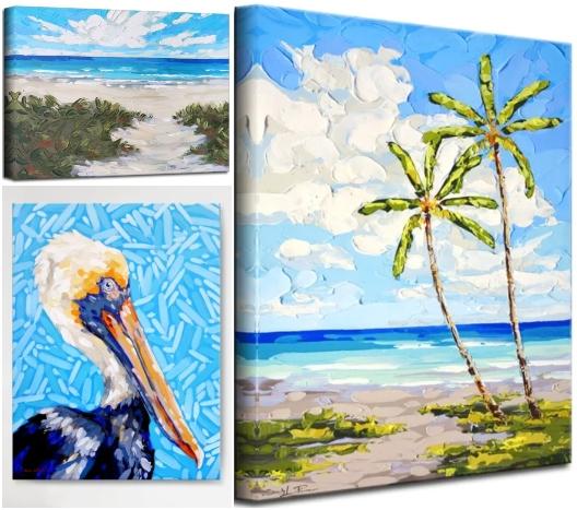 Ocean Beach Art Palette Knife Technique Canvas Wall Art Texutred