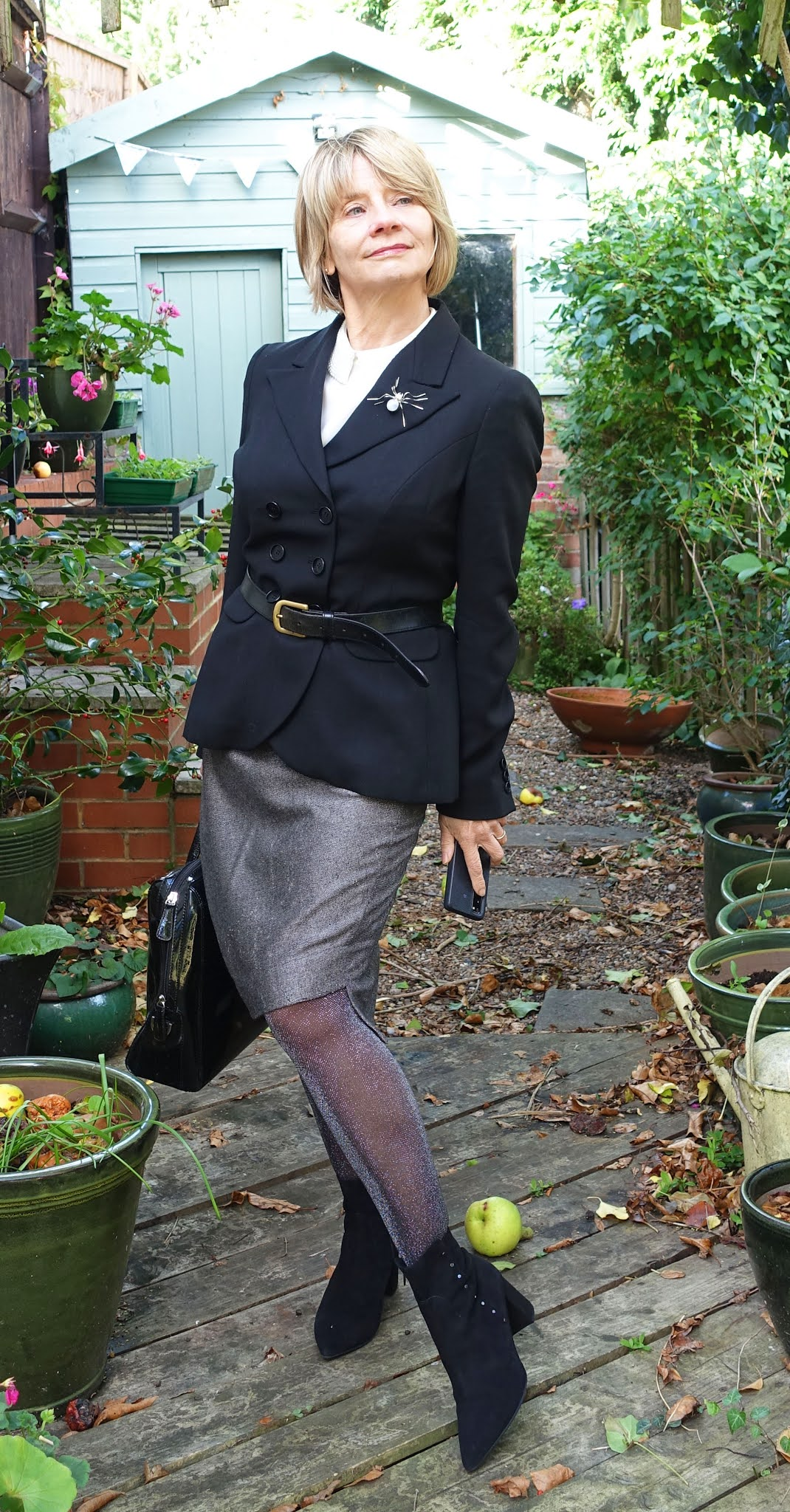 Sparkly tights add some personality to a tailored office chic outfit worn by Is This Mutton's Gail Hanlon