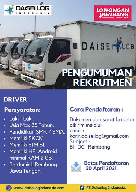 Lowongan Kerja Driver Sopir PT Daisei Log Indonesia Penempatan Rembang