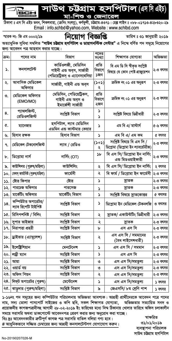 South Chattagram Hospital Job Circular 2019