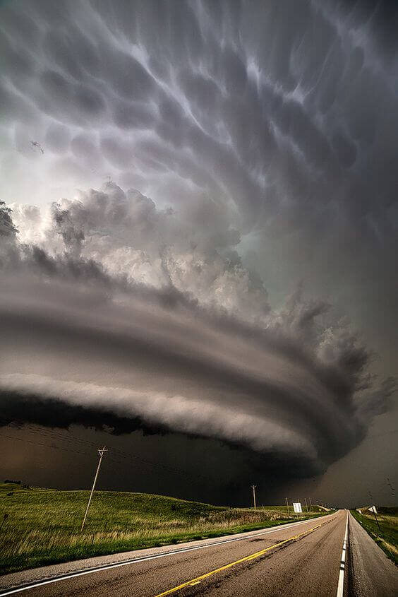 Nasty | A vertical shot of the monster HP supercell that pummeled the open range north of Burwell, Nebraska, June 16, 2014. This storm had several rain-wrapped tornadoes earlier in the storm's lifecycle.