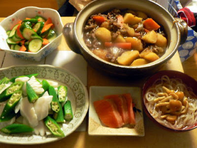 夕食の献立 献立レシピ 飽きない献立 肉じゃが イカサラダ 浅漬け ナメコ冷麺