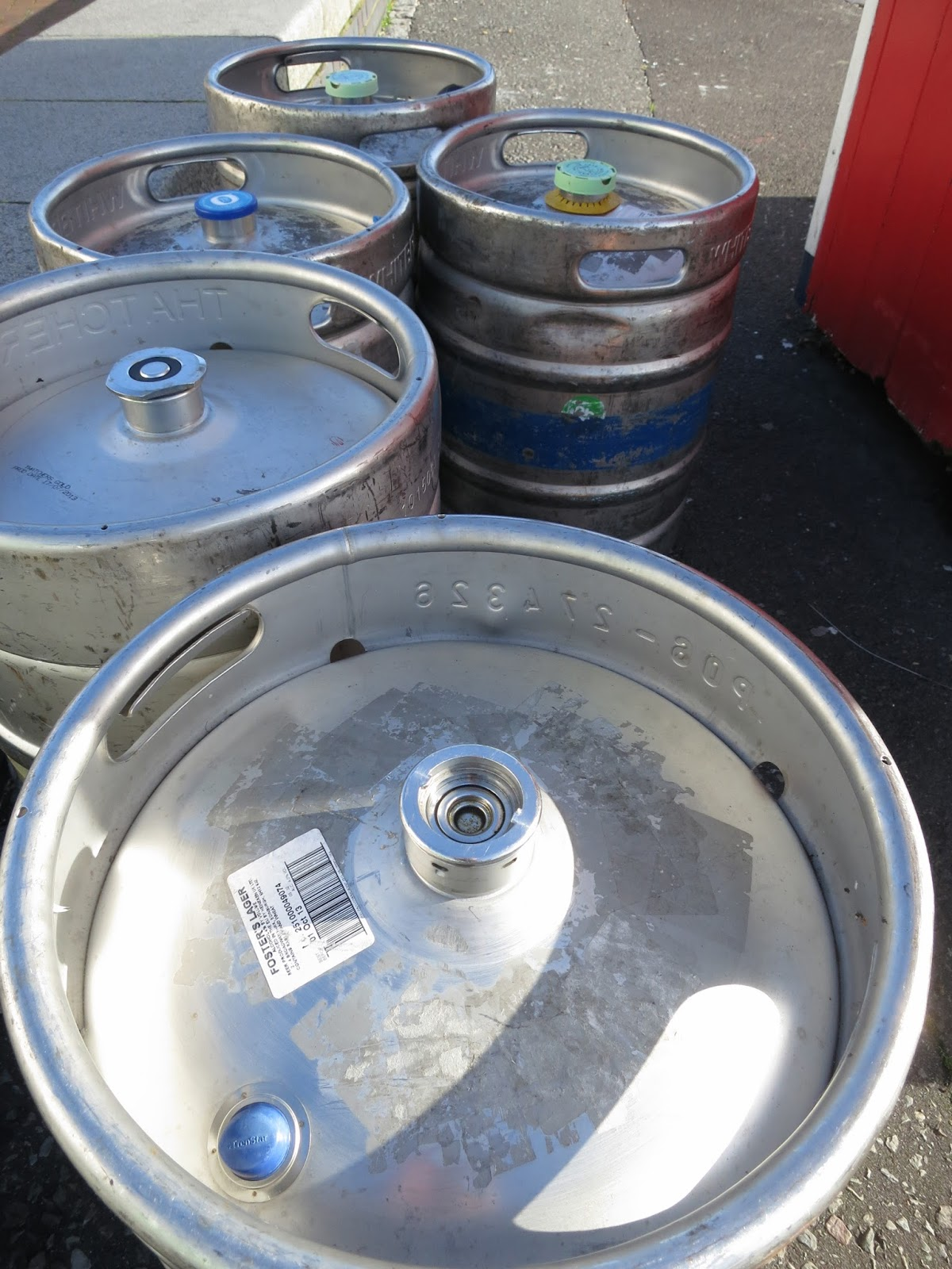 Metal Beer Keg in a Row