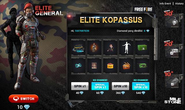 Cara Membuka Event Elite Kopassus Spesial Hari Pahlawan Free Fire
