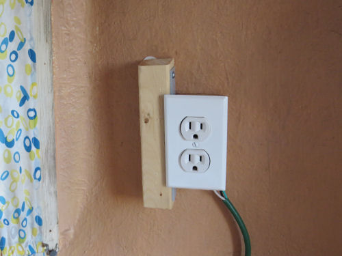 electric outlet in a fiberglass trailer