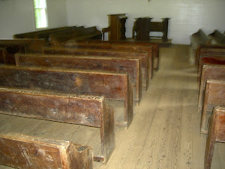 inside historic church in Cades Cove
