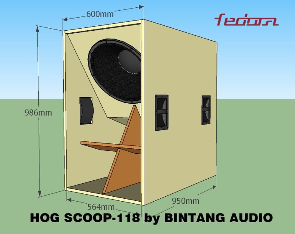 Ukuran luar Hog Scoop Speaker Box