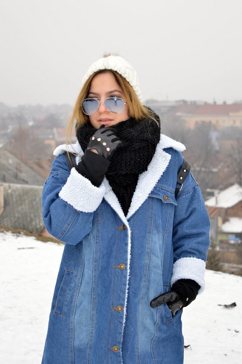 denim shearling jacket coat shein