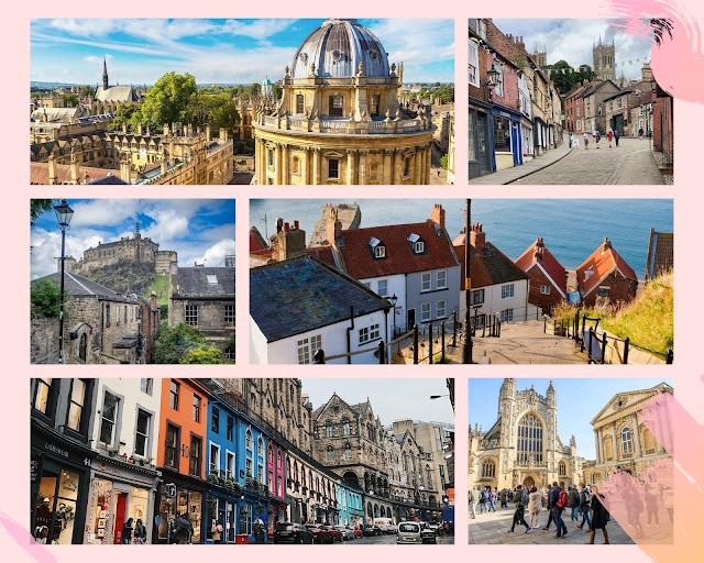 collage - Oxford Radcliffe Camera, Steep Hill Lincoln, 199 Steps Whitby, Edinburgh Castle Edinburgh, Victoria Street Edinburgh, Bath Abbey Bath