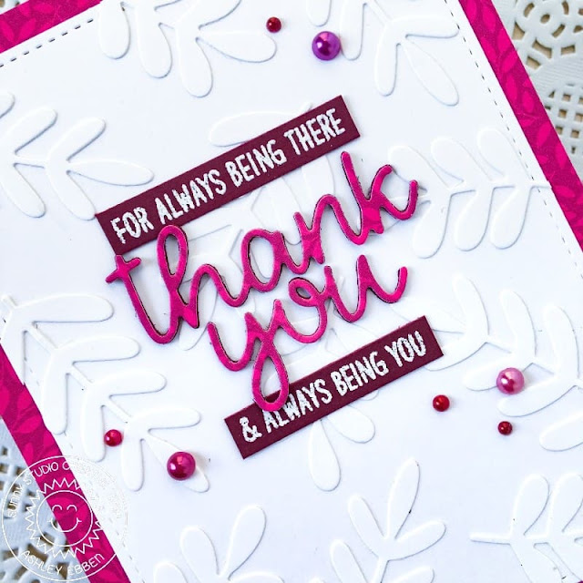 Sunny Studio Stamps: Words of Gratitude Card by Ashley Ebben (using Winter Greenery Dies, Thank You Word Dies, Sweater Weather Paper & Rainbow Pearls)