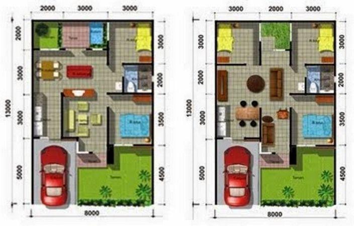 denah rumah type 200 yang minimalis