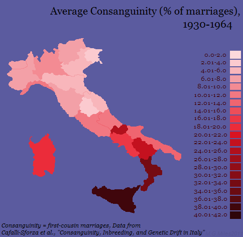 First Cousin Marriages in Italy, by percentage (1930 - 1964)