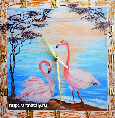 Wooden wall clock with painting in handmade - Pink flamingos at dawn.