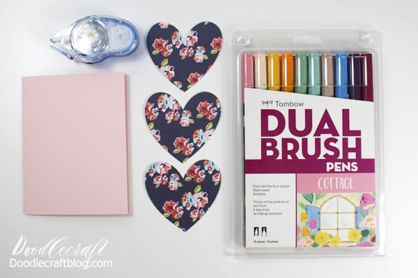 I like, like you! Make a cute Valentine Heart pop-up card using patterned paper, cardstock, Tombow Adhesive and Dual Brush Pens.