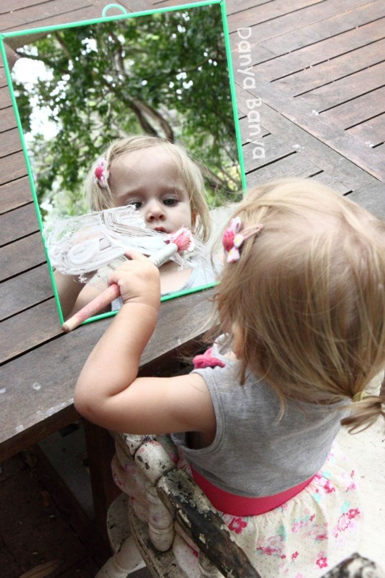 Activities for toddlers - sensory play with shaving cream and mirrors
