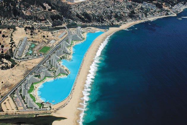 The hopeful traveler crystal lagoon at san alfonso mar - San alfonso del mar resort swimming pool ...