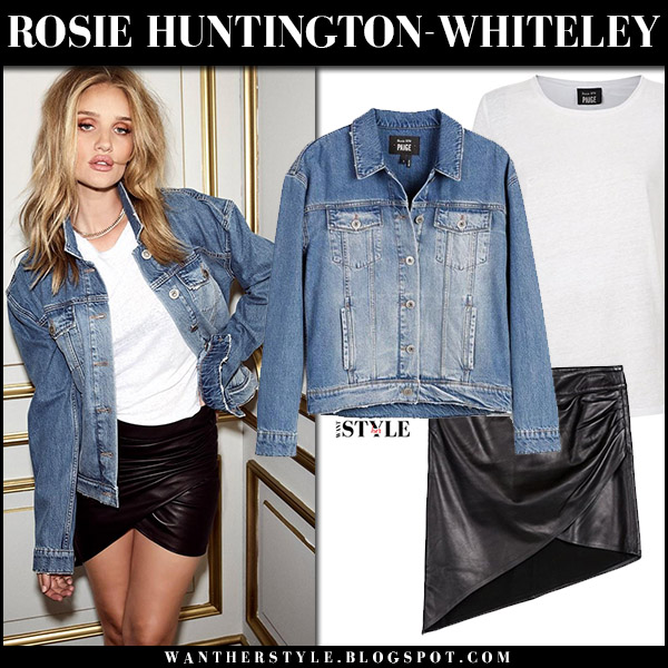 Rosie Huntington-Whiteley in denim jacket and black mini skirt Rosie HW X Paige fall 2017