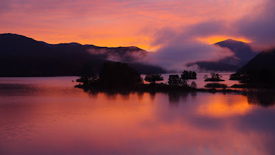 Clouds, pink sunset, island, dusk, trees, lake