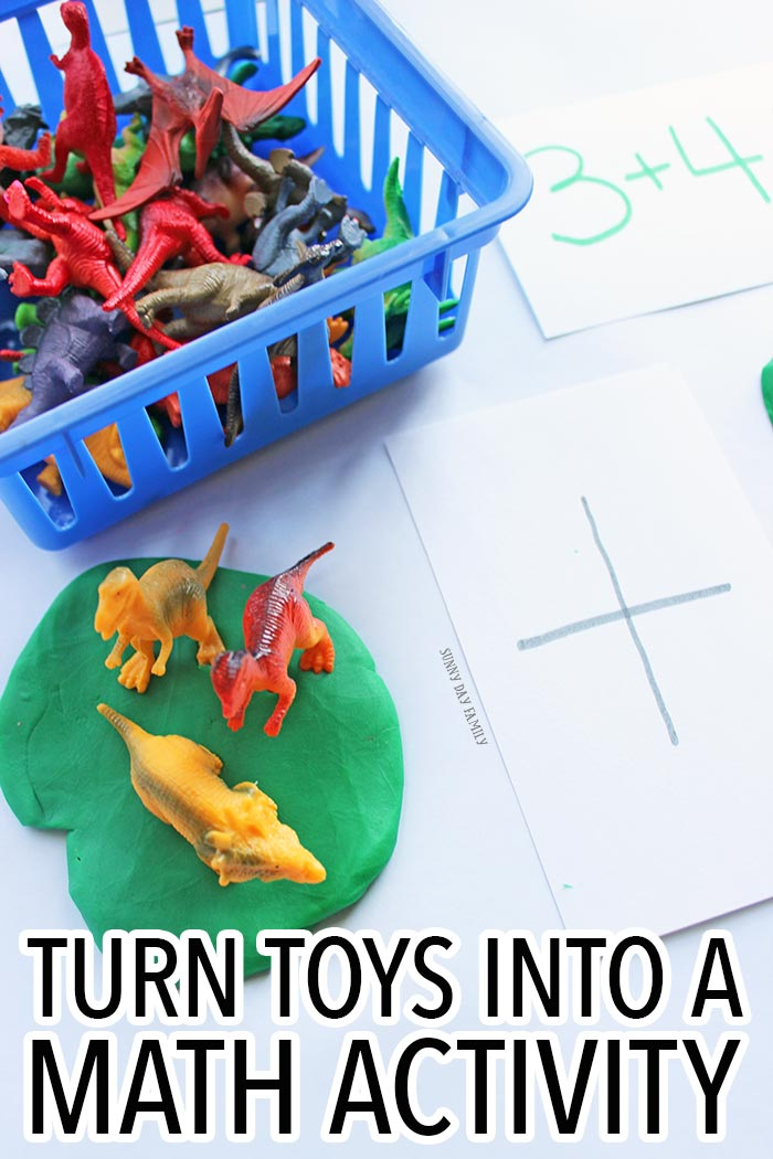 Turn your kids collections into a fun preschool math activity! Use dinosaurs, LEGOs, or any little toys to practice counting, addition, and subtraction. A super fun preschool math game!
