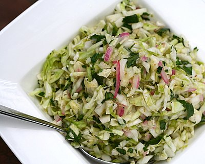 Alice Waters' Coleslaw ♥ KitchenParade.com, no mayonnaise, bright with lime and cilantro. Vegan. Low Carb. Gluten Free. Weight Watchers Friendly. Great for Meal Prep.