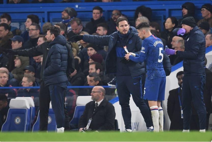 Chelsea manager Frank Lampard with midfield maestro Jorginho