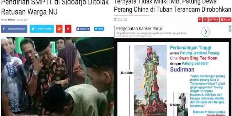 Aneh, Sekolah Islam Berizin Ditolak NU, Patung Jendral China tak Berizin Dibiarkan