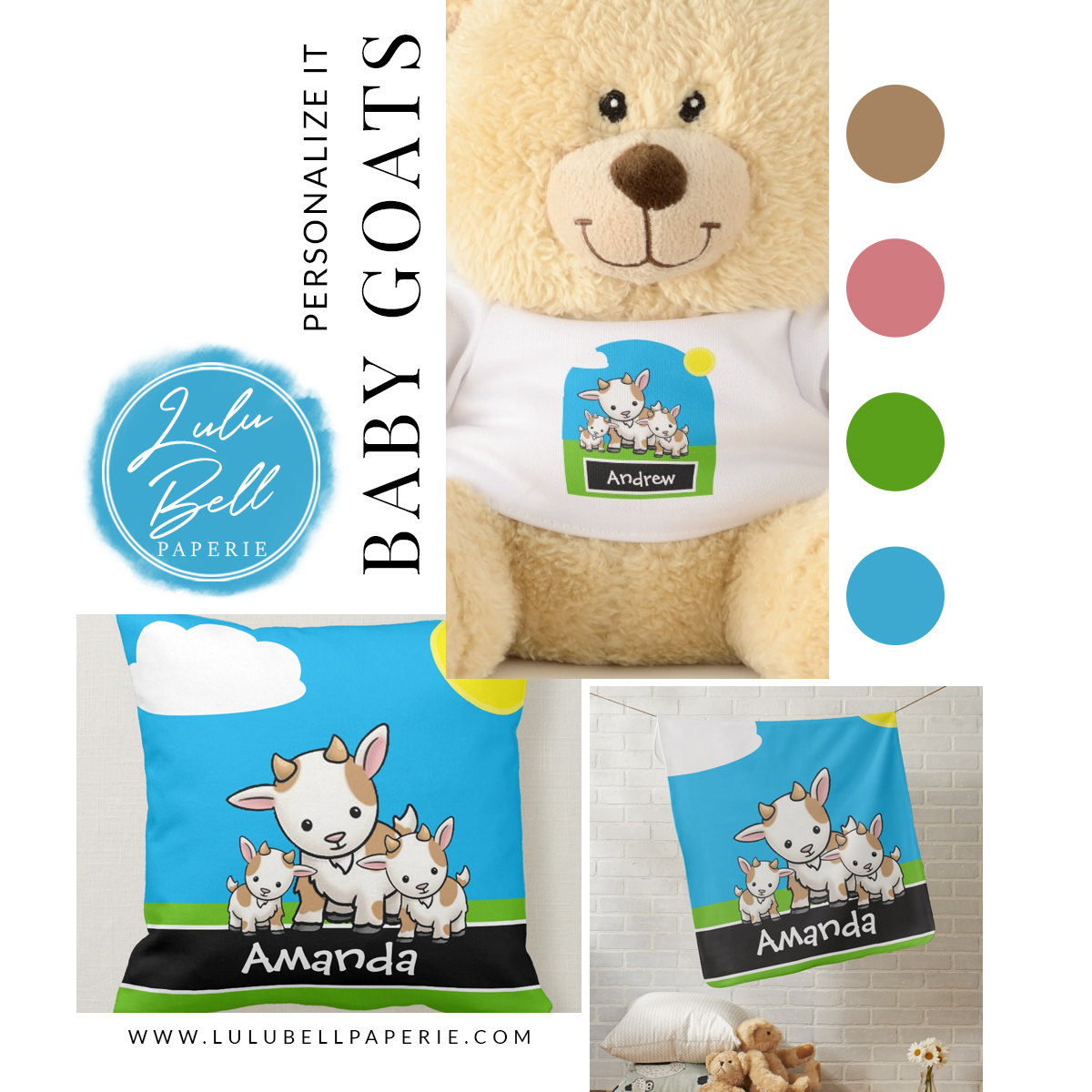 Baby Goats Personalized Nursery Collection - pillow, blanket, and teddy bear with custom name.