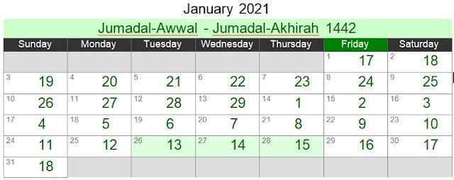 Islamic Hijri Calendar January 2021 (Jumadal-Awwal - Jumadal-Akhirah 1442)