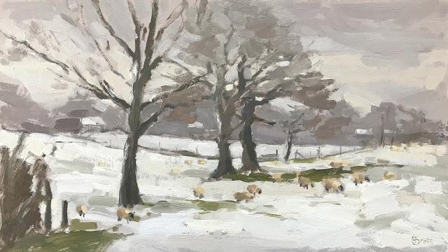 #272 'Grazing on Snow' 8×14″