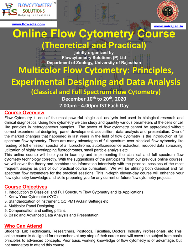 ONLINE Flow Cytomerty Course | Multicolor Flow Cytomerty | 10-20th December 2020