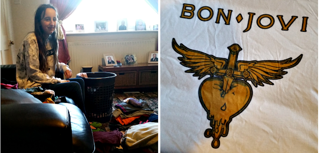 My teen folding the washing and a photo of my Bon Jovi tshirt.