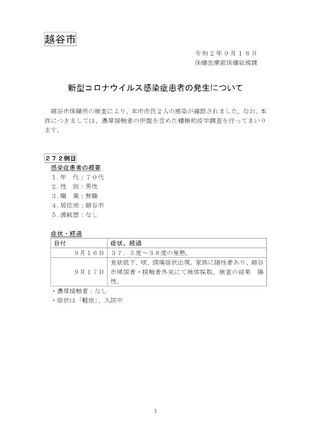 新型コロナウイルス感染症患者の発生について(9月18日発表)
