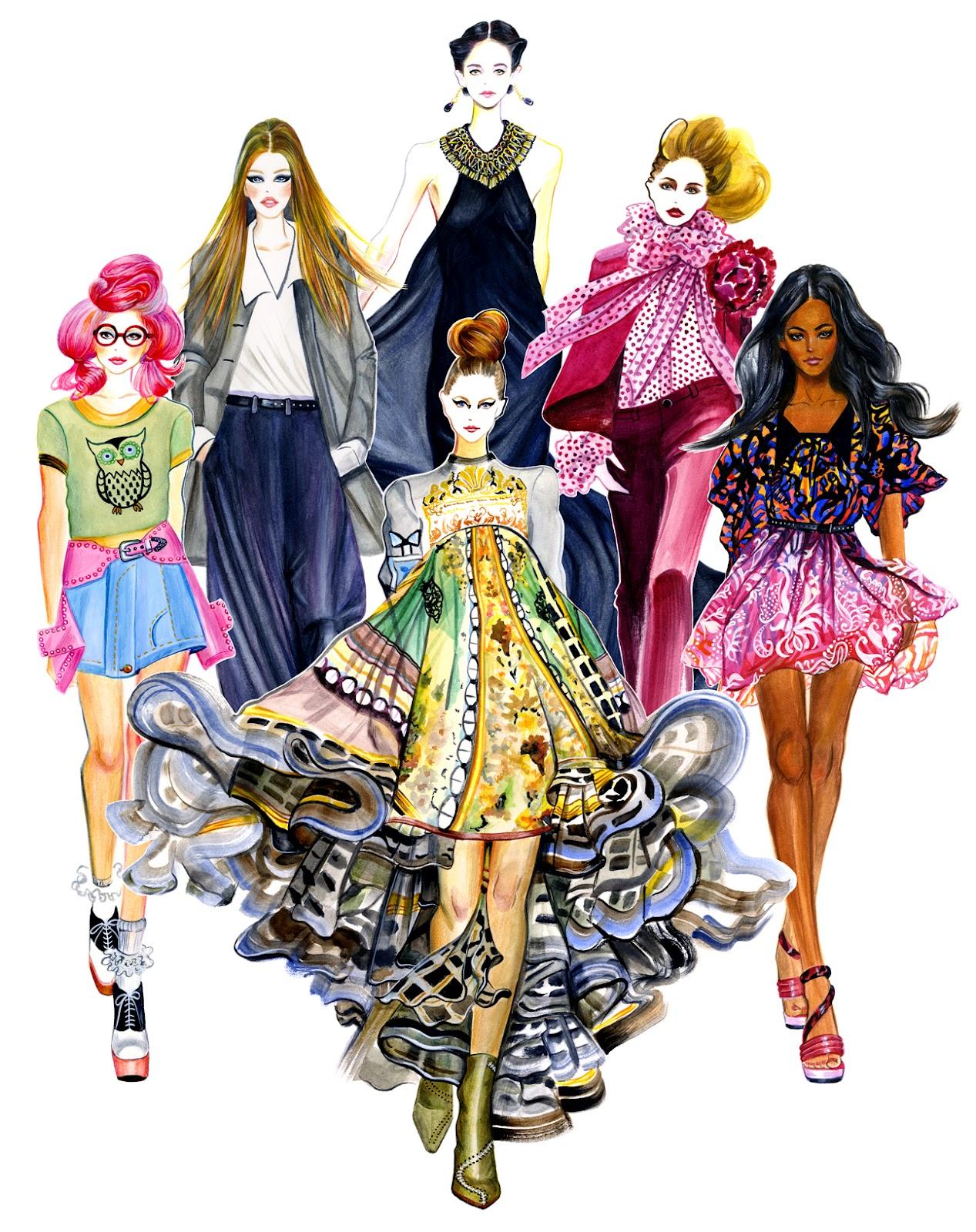 Fashion Illustration Royalty Free Stock Photo: Sunny Gu: Girls In Style