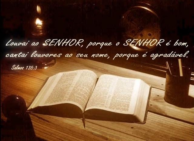 """""""Louvai ao Senhor, porque o Senhor é bom, cantai louvores ao seu nome, porque é agradável"""" - Salmos 135.3."""