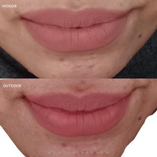 tampilan lip cream di dalam vs di luar ruangan
