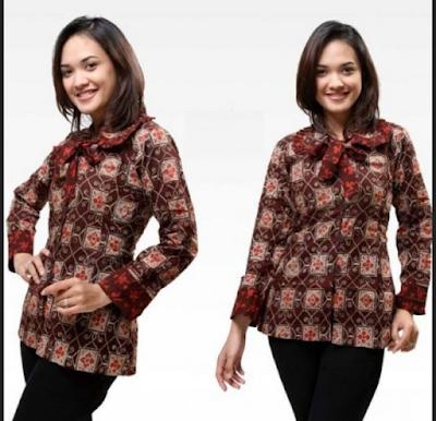Model baju batik kantor simple namun elegan