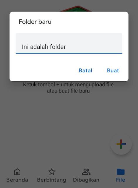 Berikan Nama Pada Folder Baru di Google Drive Lewat Hp