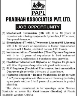Pradhan Associates Pvt Ltd Recruitment ITI and Diploma Holders For LCP, SMS, Steel Plants, Cast House at Odisha and Maharashtra