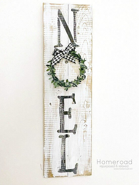 Rustic Reclaimed Wood NOEL sign for Christmas