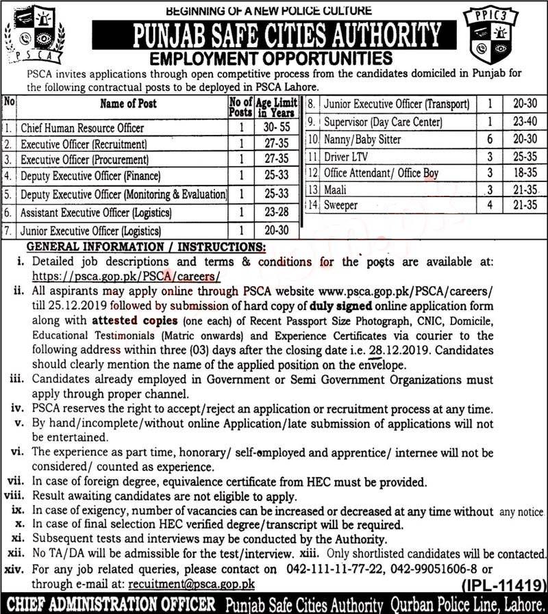 Punjab Safe City Authority Punjab Police Jobs 2019 December
