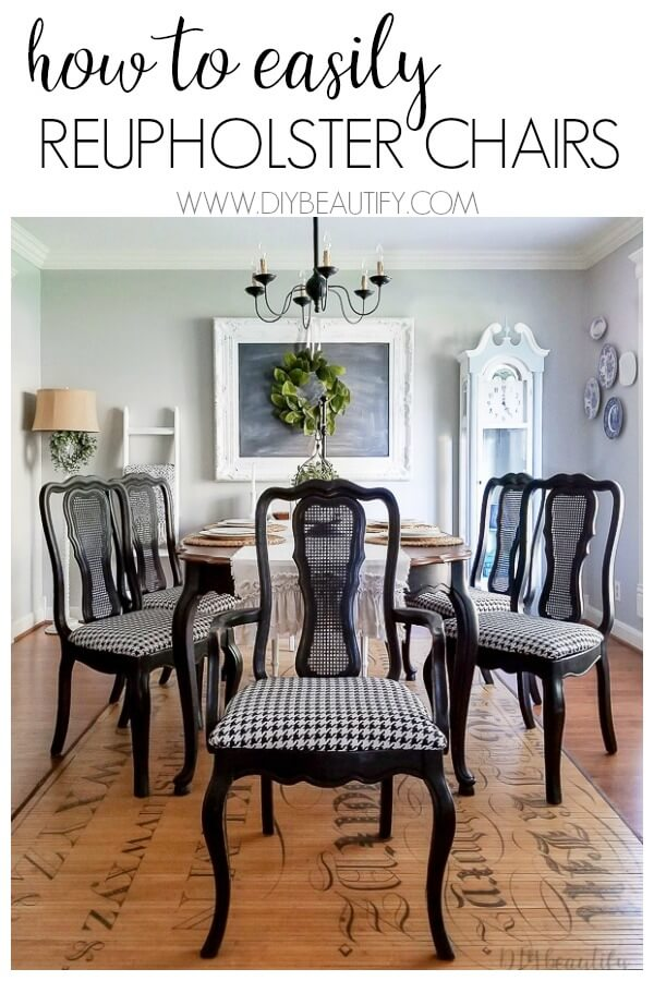 dining room with reupholstered chairs