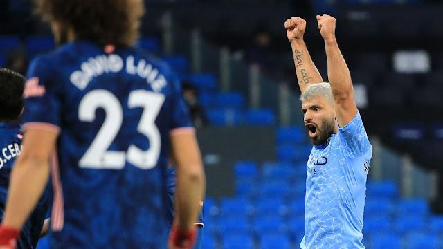 Man city forward Sergio Aguero celebrates goal against Arsenal
