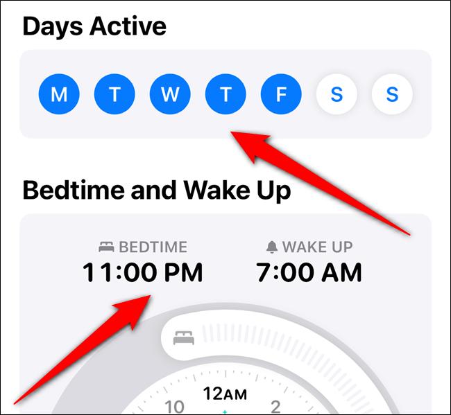"""انقر على أيام الأسبوع التي تريد استخدام هذا الجدول الزمني ، ثم اضبط أوقات """"وقت النوم"""" و """"الاستيقاظ""""."""