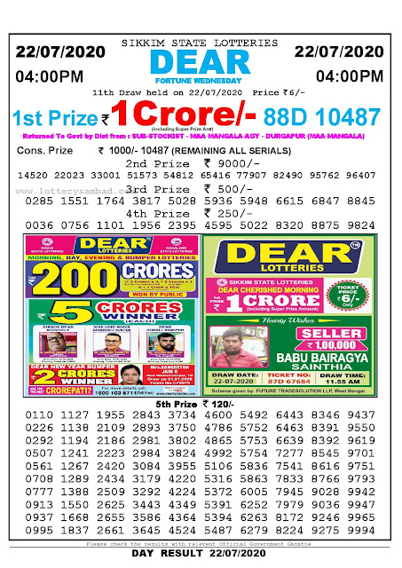 Sikkim State Lotteries 22-07-2020 Lottery Sambad Result 04:00 PM