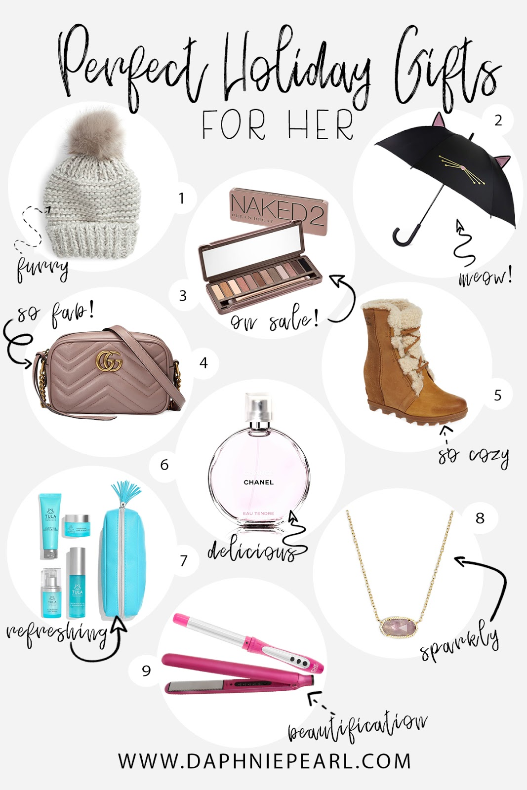 Holiday Gift Guide for Her  - Christmas Gift Ideas Holiday Shopping Present Best Unique Mom Aunt Grandma Sister Daughter Womens Girls Free People Urban Decay Naked 2 Kate Spade Umbrella Gucci Bag Sorel Boots Booties Chanel Perfume Tula Chi Kendra Scott