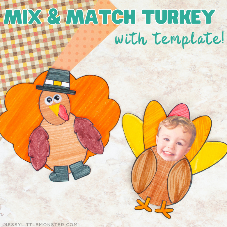 Mix and match turkey craft with turkey template