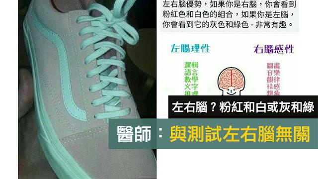 鞋子顏色 左右腦 右腦主導會見到粉紅及白色 左腦主導思考 會見到灰及綠