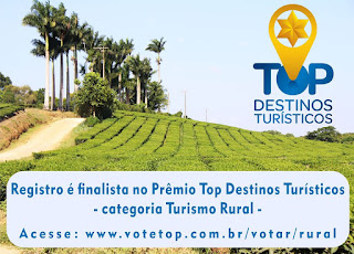 REGISTRO-SP É FINALISTA DO PRÊMIO TOP DESTINOS TURÍSTICOS NA CATEGORIA TURISMO RURAL