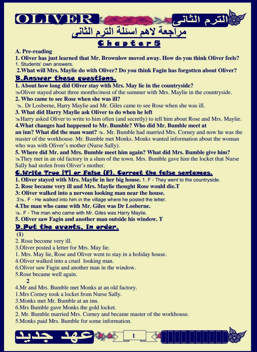 تحميل قصة اوليفر تويست للصف الاول الثانوى pdf