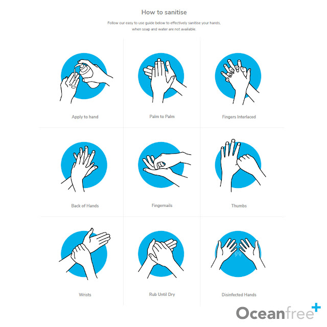 The benefits of hand sanitizer when travelling - demonstration of how to wash your hands with sanitizer